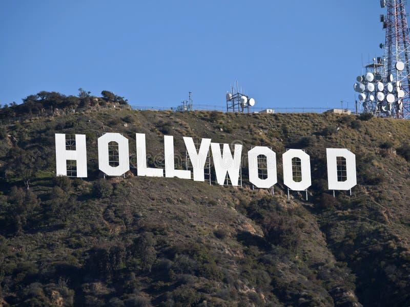 Mattina del segno di Hollywood fotografie stock libere da diritti