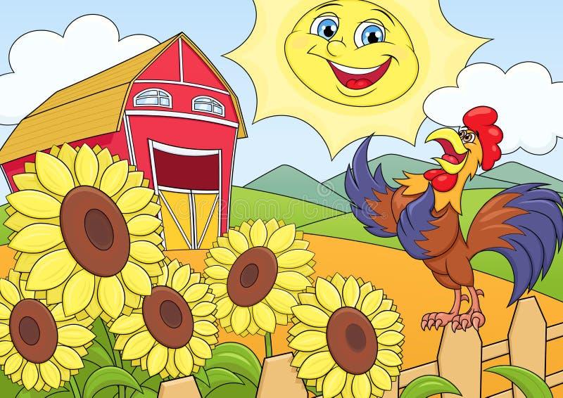 Mattina di estate sull'azienda agricola illustrazione vettoriale