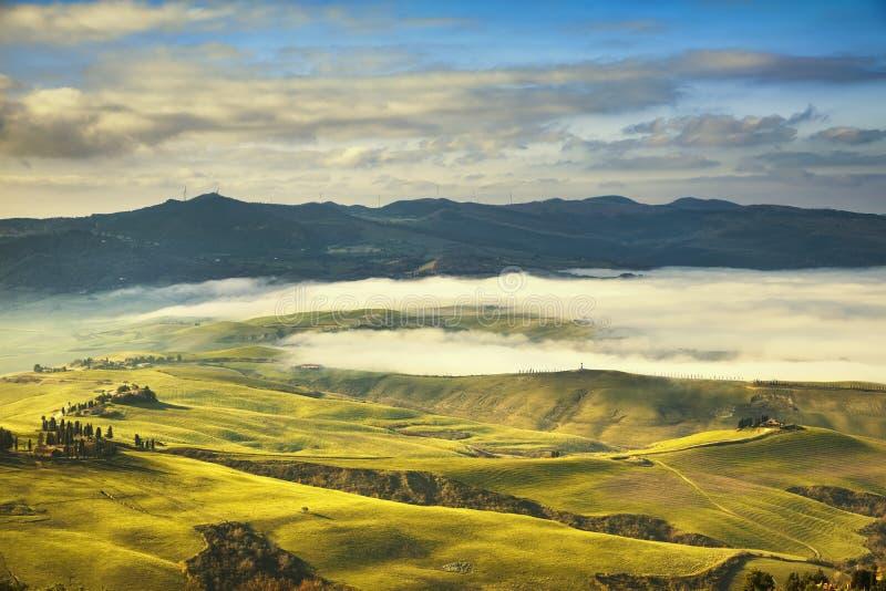 Mattina nebbiosa della Toscana, terreno coltivabile e campi verdi L'Italia immagine stock libera da diritti