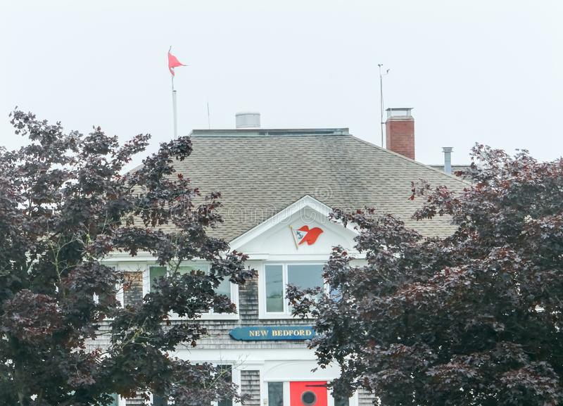 Mattina nebbiosa nuovo Bedford Yacht Club Padnaram Dartmouth Massachu immagine stock libera da diritti