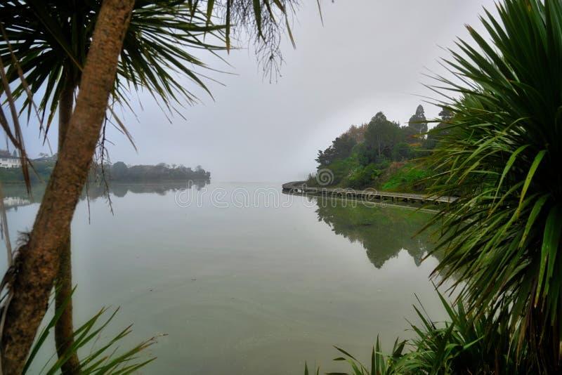 Mattina nebbiosa sopra il lago fotografie stock libere da diritti