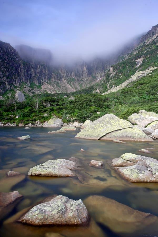 Mattina nebbiosa ventosa nel lago immagini stock