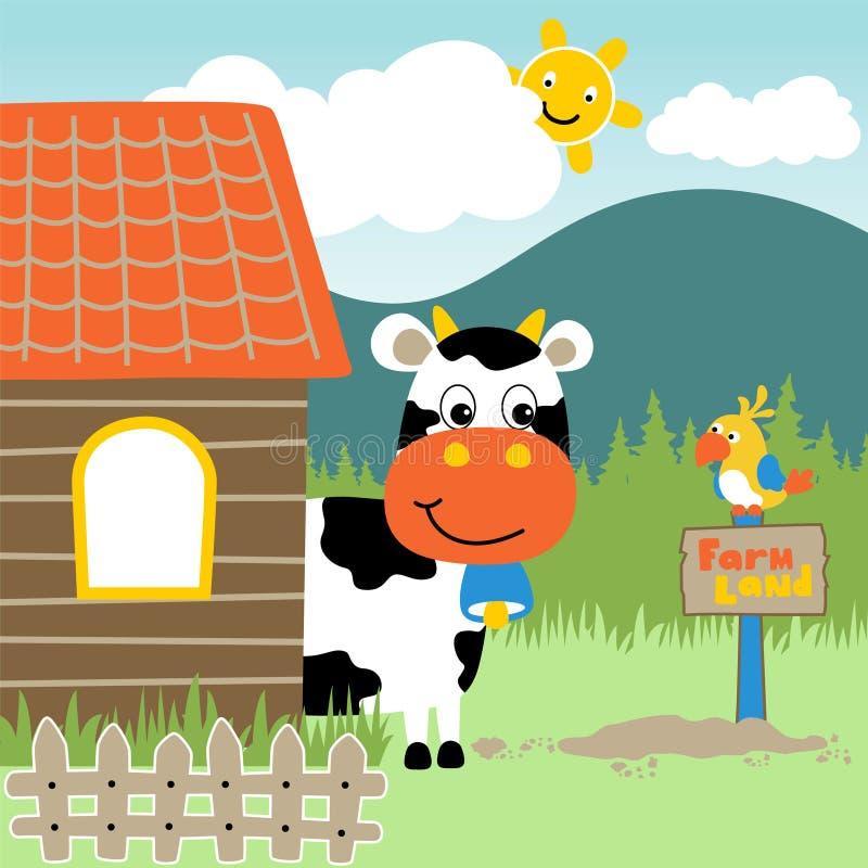 Mattina nel cortile con il fumetto degli animali illustrazione di stock