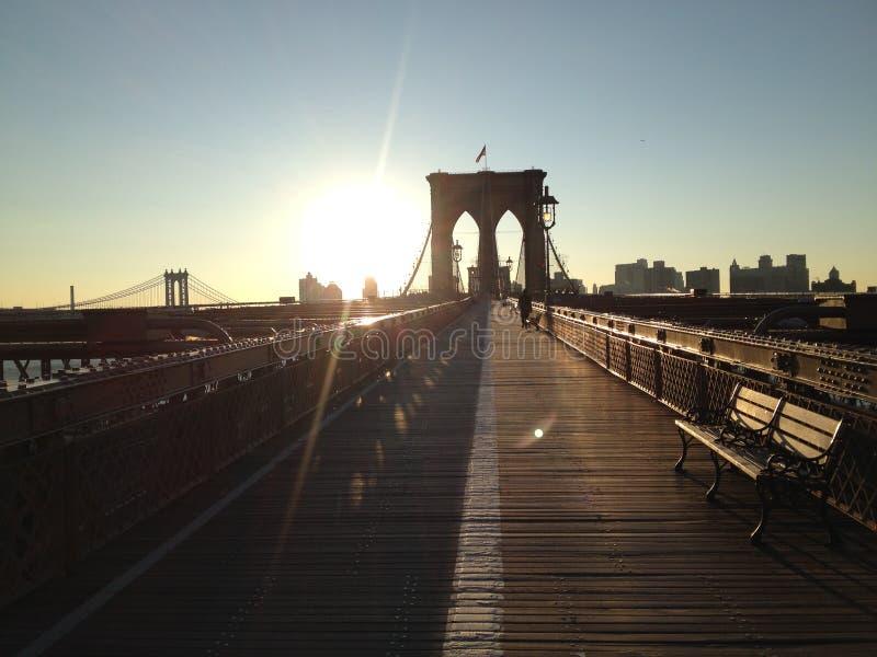 Mattine del ponte di Brooklyn immagine stock libera da diritti