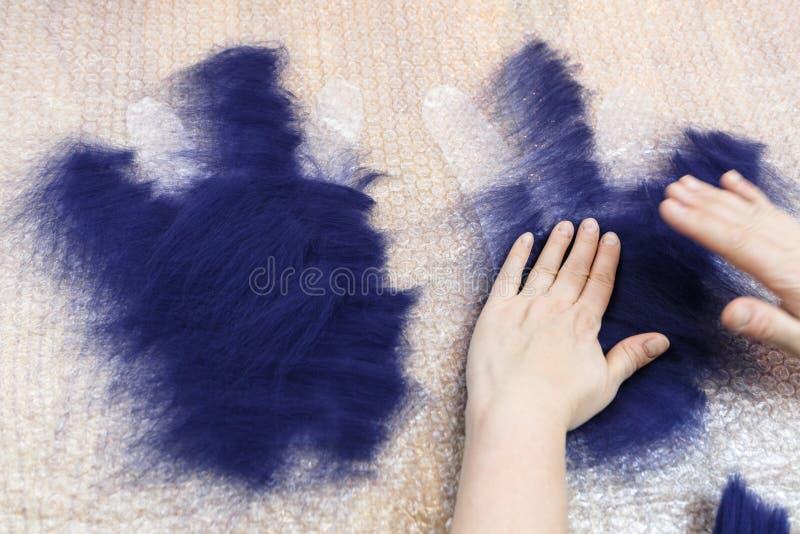 Matting βιοτεχνών πρώτο στρώμα των ινών στο σχέδιο στοκ φωτογραφία