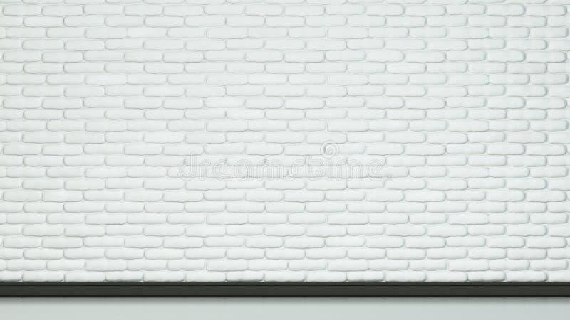 Mattone bianco dipinto di colore della parete e del pavimento immagine stock