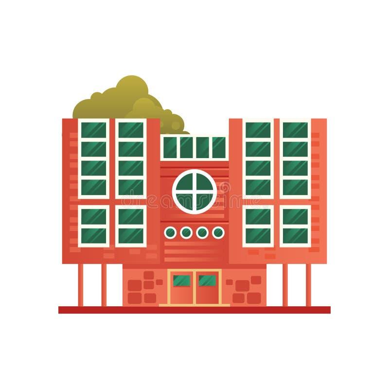 Mattone moderno residenziale o edificio per uffici, illustrazione di vettore di vista frontale su un fondo bianco royalty illustrazione gratis