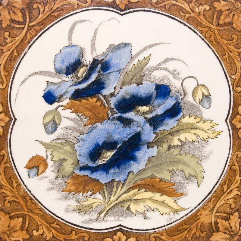 Mattonelle antiche del pansy di Nouveau di arte fotografie stock