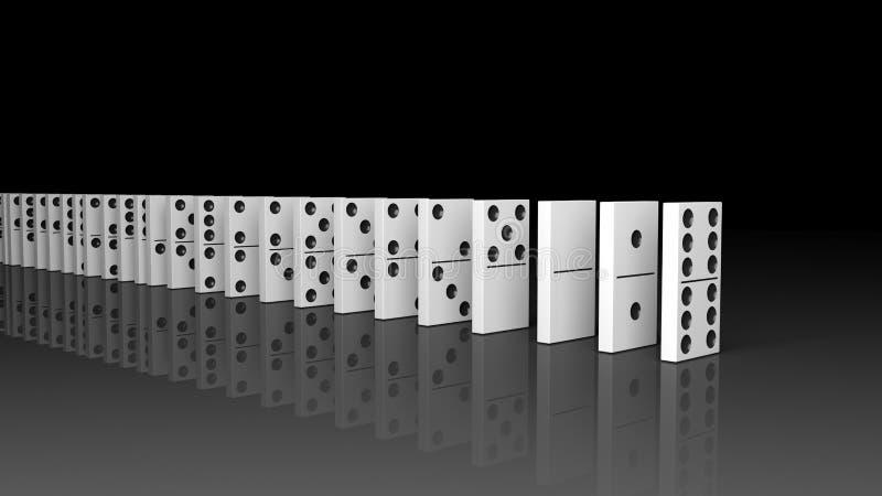 Mattonelle bianche di domino messe in una fila royalty illustrazione gratis