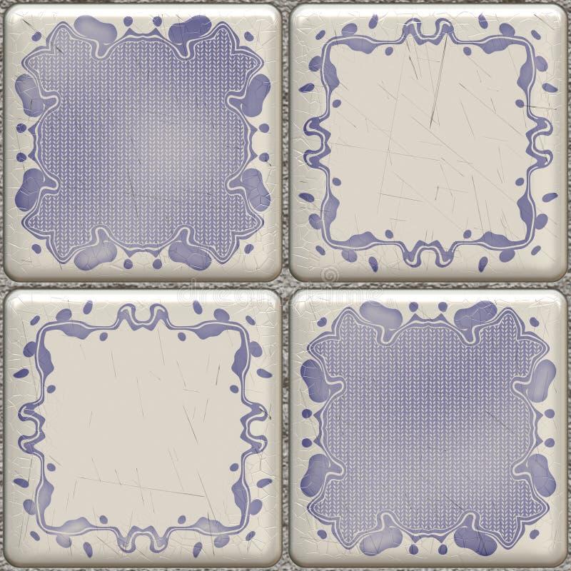 Mattonelle blu della stanza da bagno royalty illustrazione gratis