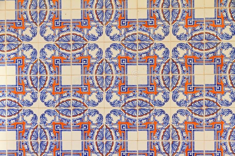 Mattonelle blu ed arancio di Lisbona fotografie stock libere da diritti