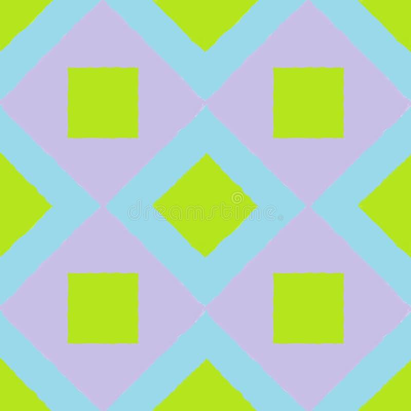 Mattonelle con quattro quadrati verdi sopra una più grande porpora fotografia stock