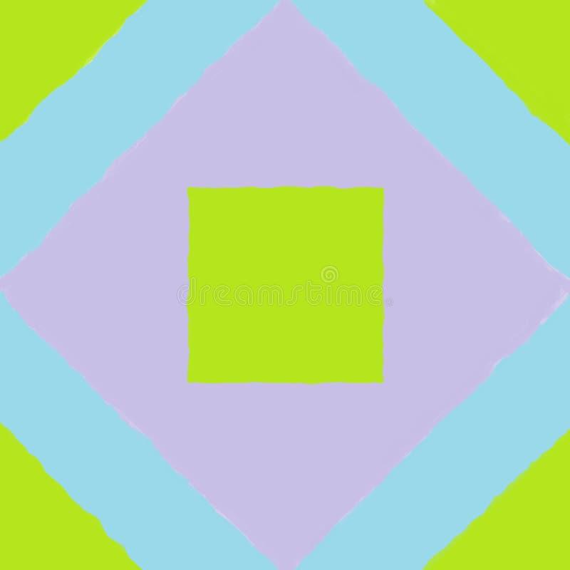 Mattonelle con un quadrato verde sopra una più grande porpora fotografie stock