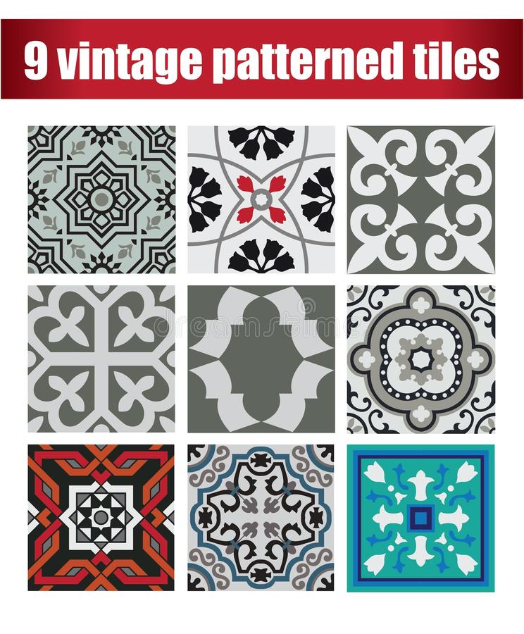 9 mattonelle d'annata modellate raccolta illustrazione di stock