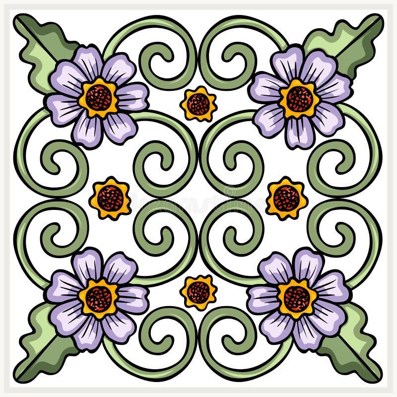 Mattonelle decorate senza cuciture del fiore illustrazione vettoriale