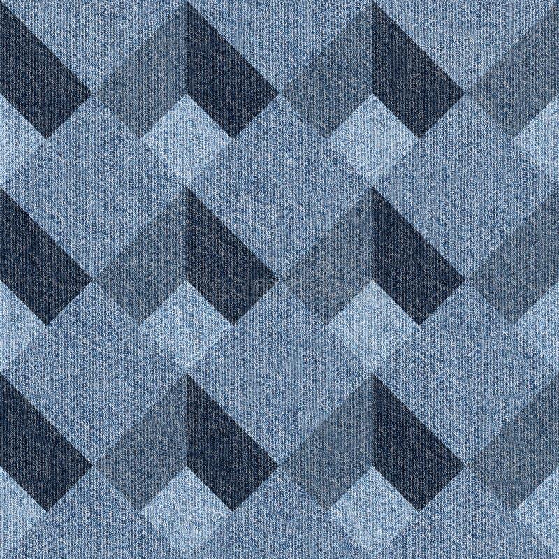 Mattonelle decorative astratte - modello senza cuciture - jeans blu del denim illustrazione di stock