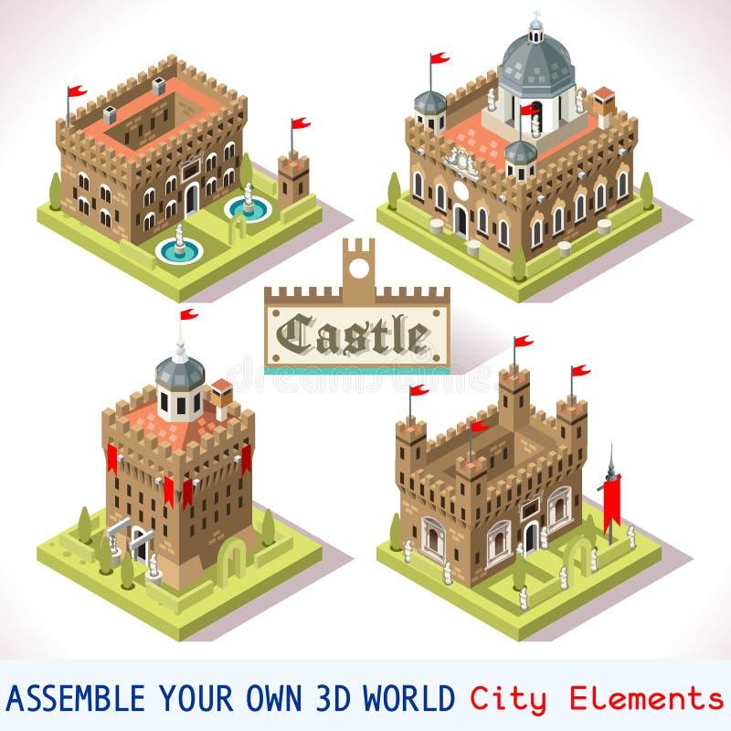 Mattonelle del castello 01 isometriche illustrazione di stock