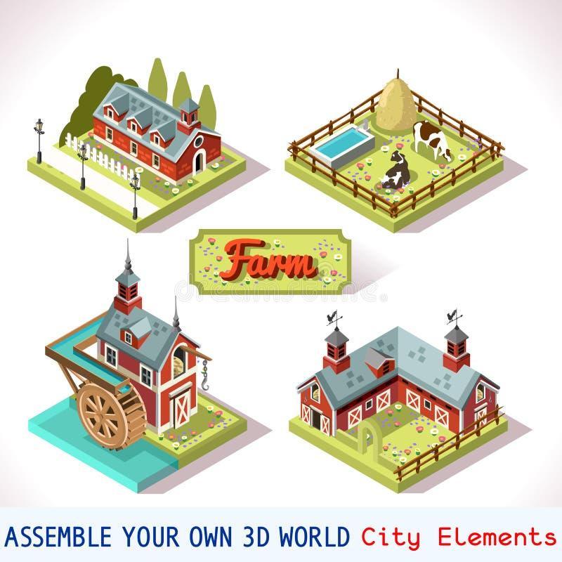 Mattonelle dell'azienda agricola 01 isometrico stabilito royalty illustrazione gratis