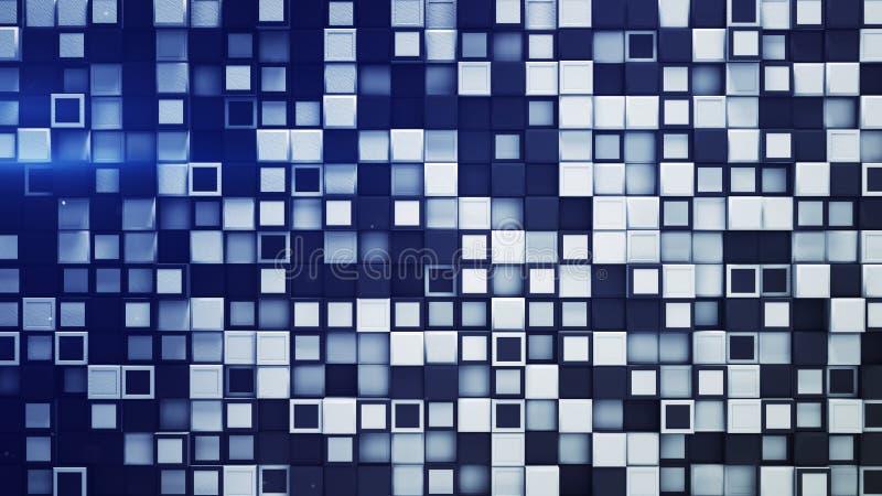 Mattonelle della rappresentazione astratta 3D delle scatole bianche e blu illustrazione di stock