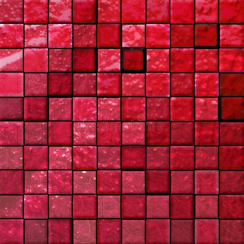 Mattonelle della stanza da bagno astratta rosse royalty illustrazione gratis