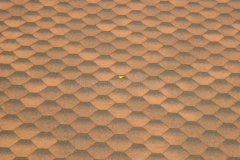 Mattonelle di tetto e foglia gialla fotografie stock