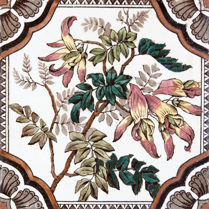 Mattonelle floreali antiche del Victorian illustrazione di stock