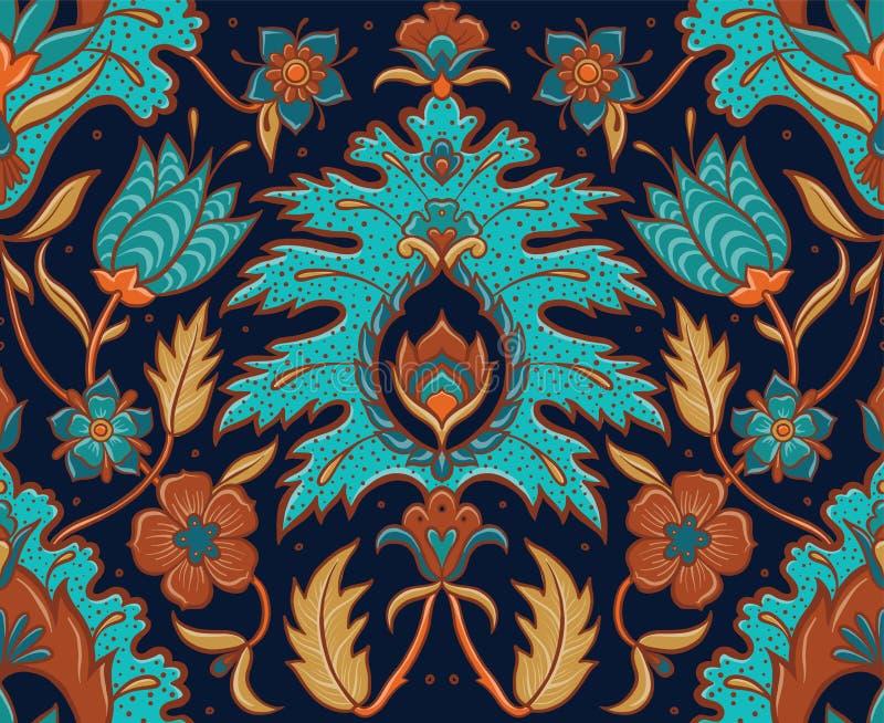 Mattonelle floreali senza cuciture di Boho - turchese ed ocra illustrazione di stock