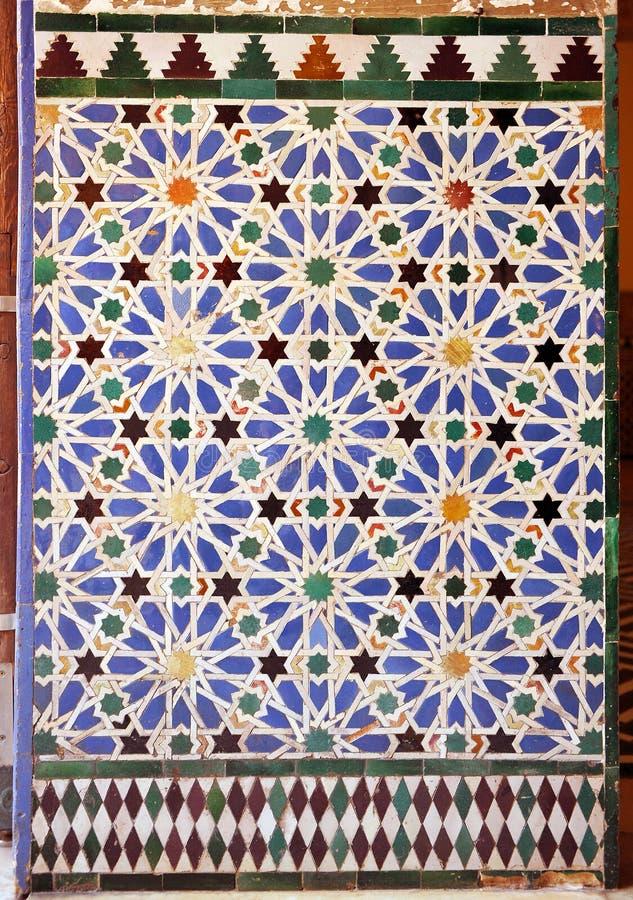 Mattonelle lustrate, azulejos, palazzo reale di alcazar a Sevilla, Spagna fotografia stock libera da diritti