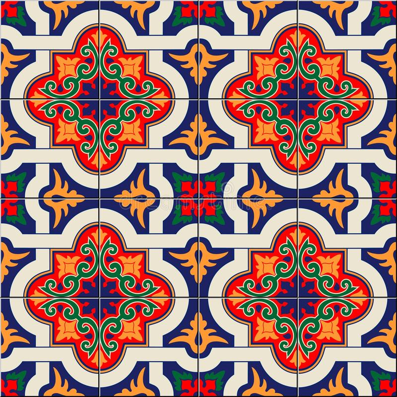 Mattonelle marocchine del modello senza cuciture splendido e portoghesi variopinte bianche, Azulejo, ornamenti Può essere usato p illustrazione vettoriale