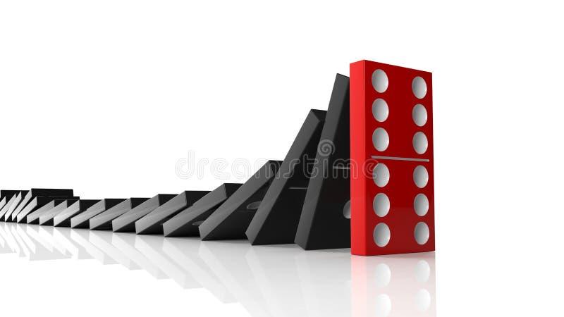 Mattonelle nere di domino che cadono in una fila illustrazione vettoriale