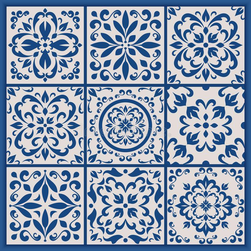 Mattonelle portoghesi con gli ornamenti di azulejo royalty illustrazione gratis