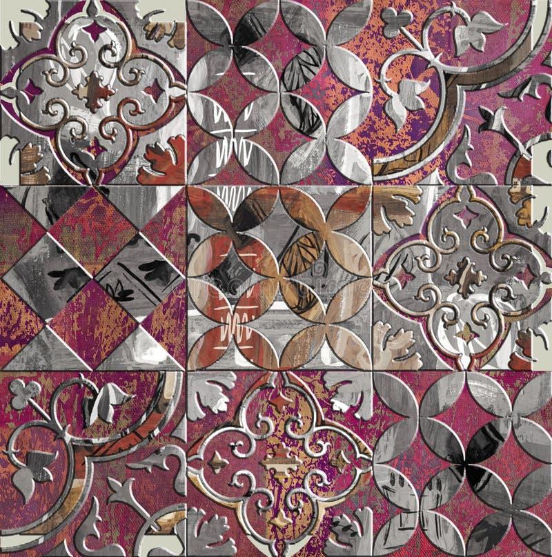 Mattonelle quadrate decorative variopinte d'annata del modello fotografie stock libere da diritti