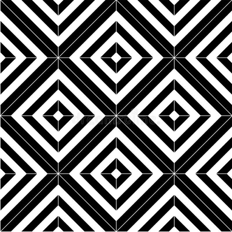 Mattonelle senza cuciture in bianco e nero del modello illustrazione di stock