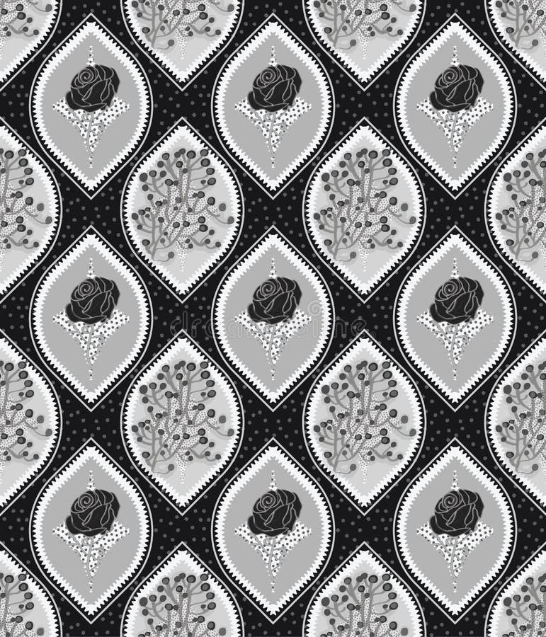 Mattonelle senza cuciture del modello di ogee floreale nei colori d'argento di gradazione di grigio illustrazione vettoriale