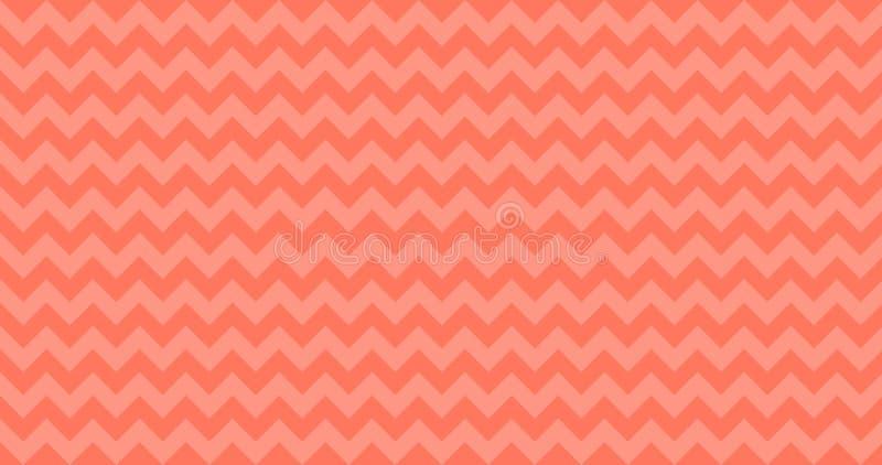 mattonelle senza cuciture del modello di vettore di 4K Ombre Chevron orizzontalmente nel vivere Coral Color Bande di zigzag Prior illustrazione vettoriale