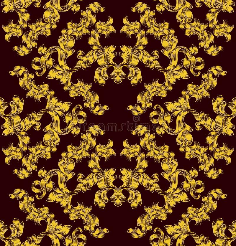 Mattonelle senza cuciture di motivo del modello floreale del rotolo royalty illustrazione gratis