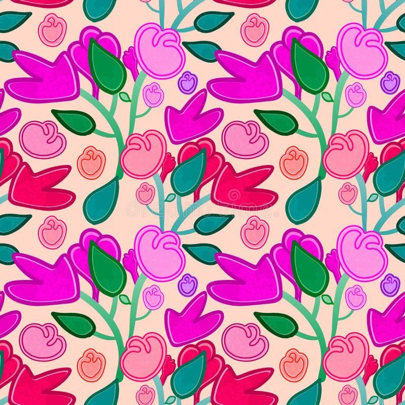 Mattonelle senza cuciture floreali scarabocchiate disegnate a mano nel rosa e rosso variopinti illustrazione vettoriale