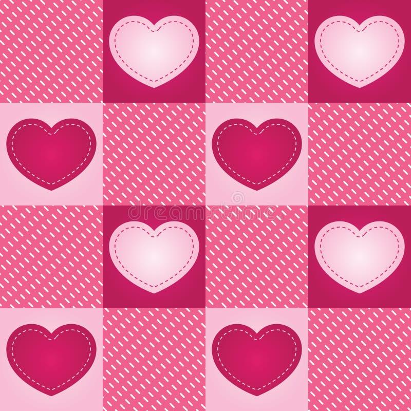 Mattonelle senza giunte del cuore Checkered illustrazione vettoriale