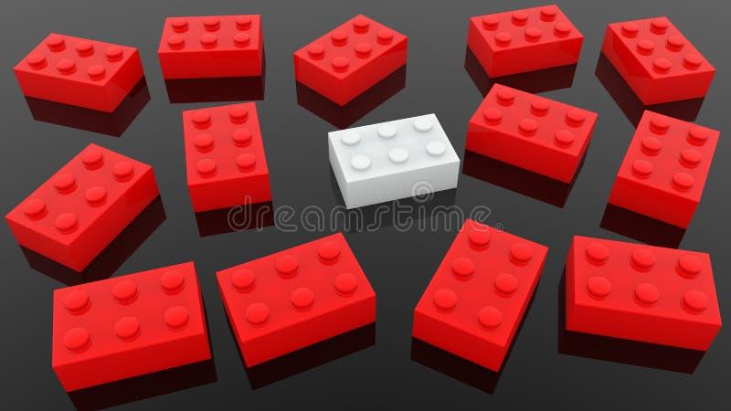 Mattoni del giocattolo nei colori rossi e bianchi sul nero illustrazione di stock