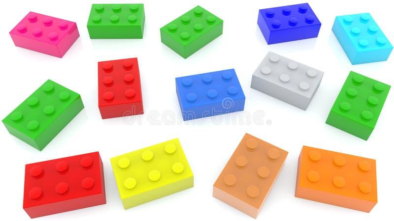 Mattoni del giocattolo in vari colori illustrazione di stock