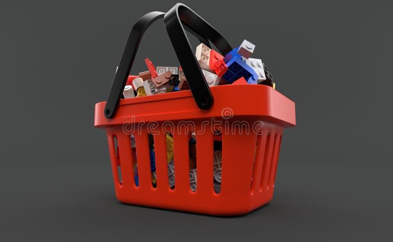 Mattoni dentro il cestino della spesa illustrazione vettoriale