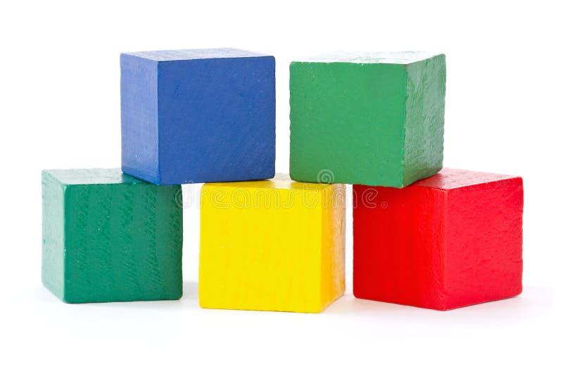 Mattoni di legno del quadrato di colore fotografia stock libera da diritti