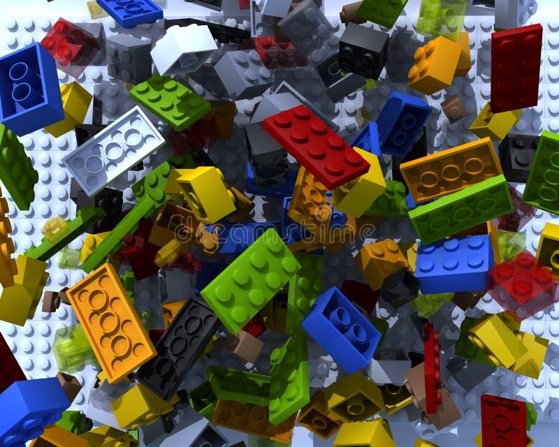 Mattoni di plastica del giocattolo illustrazione di stock