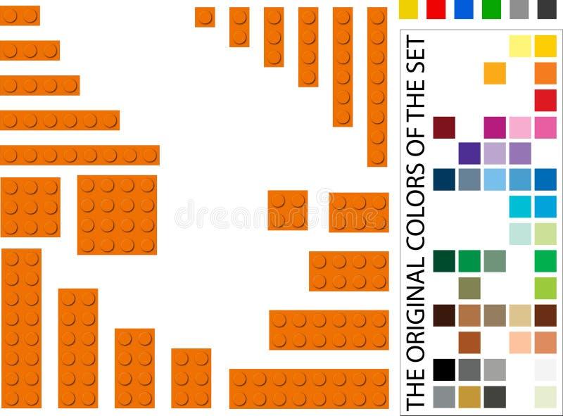 Mattoni di plastica della costruzione con molti colori da scegliere da illustrazione di stock