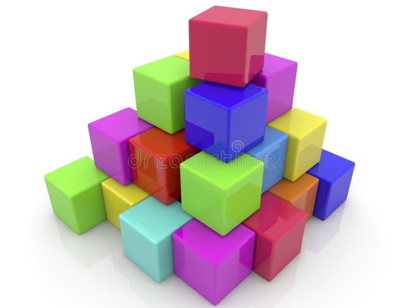 Mattoni impilati dei giocattoli in piramide illustrazione di stock