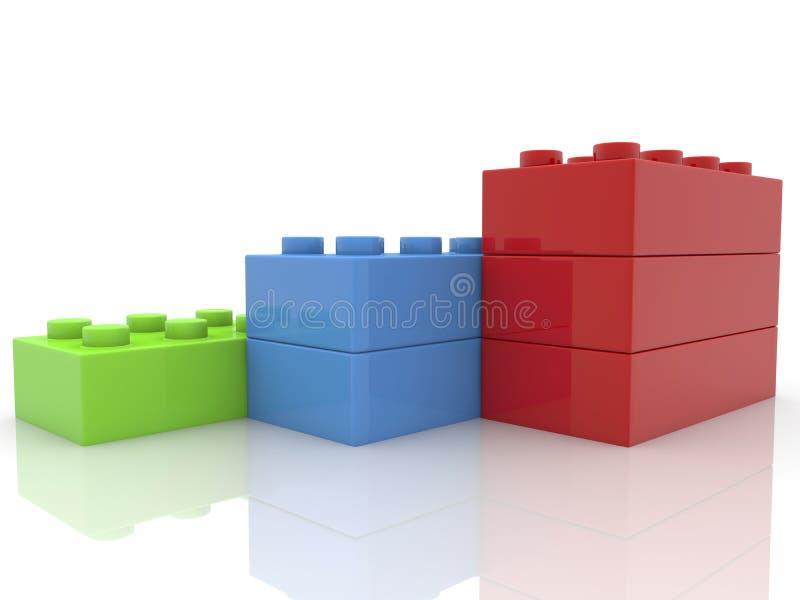 Mattoni impilati del giocattolo su bianco illustrazione vettoriale