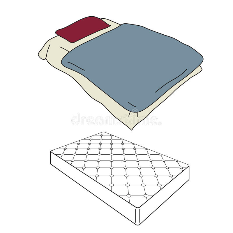 Mattress and bedding. Cartoon in perspective view vector illustration