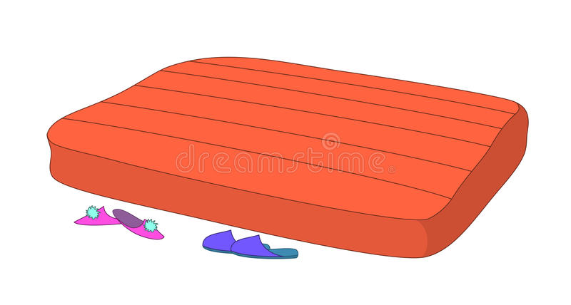 Mattress and slippers vector illustration