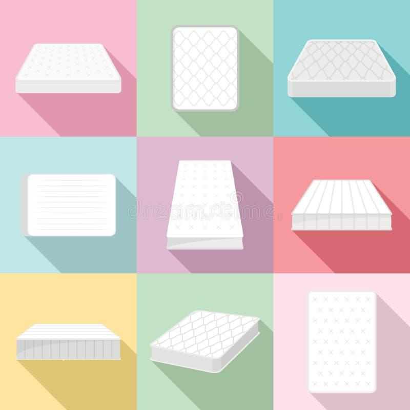 Mattress squab bedding icons set, flat style. Mattress squab bedding icons set. Flat illustration of 9 mattress squab bedding icons for web stock illustration