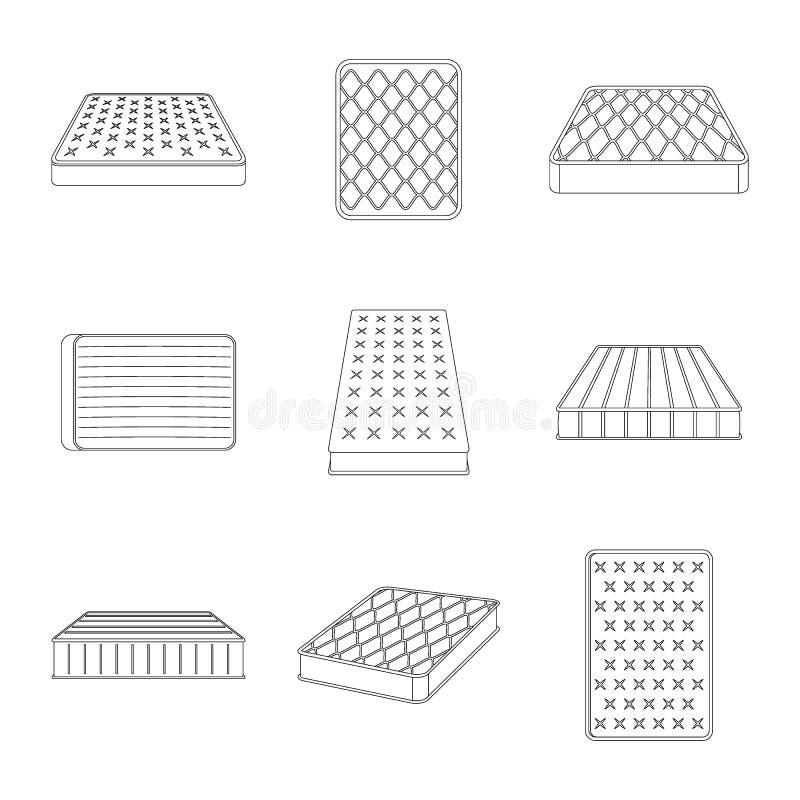 Mattress squab bedding icons set, outline style. Mattress squab bedding icons set. Outline illustration of 9 mattress squab bedding vector icons for web vector illustration